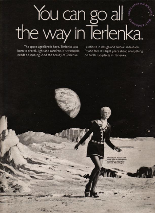 Advertentie voor Terlenka in FLAIR, oktober 1969. De advertentie beschrijft Terlenka als 'the space-age fibre', een materiaal dat zijn tijd ver vooruit zou zijn. Bron: Sweet Jane op Blogspot.