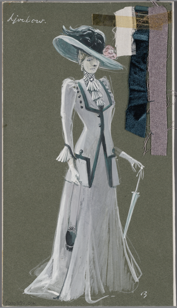 Kostuumontwerp voor Ljoebow in De Kersentuin (A.P. Tsjechov) door Jan Beutener, 1970, collectie Allard Pierson   Jan Beutener, Annie M.G. Schmidt, Paul de Leeuw, theaterkostuums, Allard Pierson