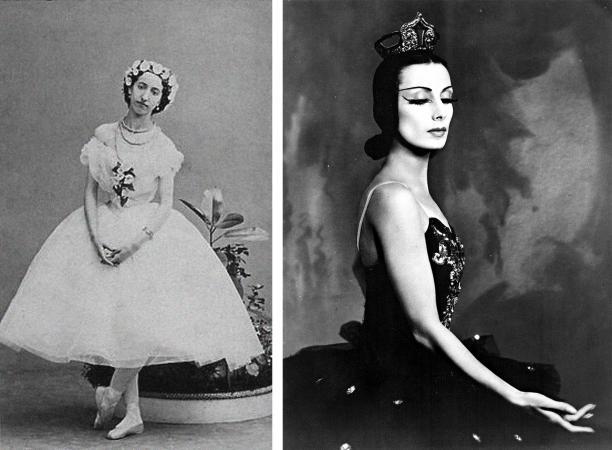 Foto links: Emma Livry als bosnimf in Taglioni's La Sylphide. Parijs, 1862. Foto rechts: Tamara Toumanova als Odile in The Magic Swan. New York City, 1941.
