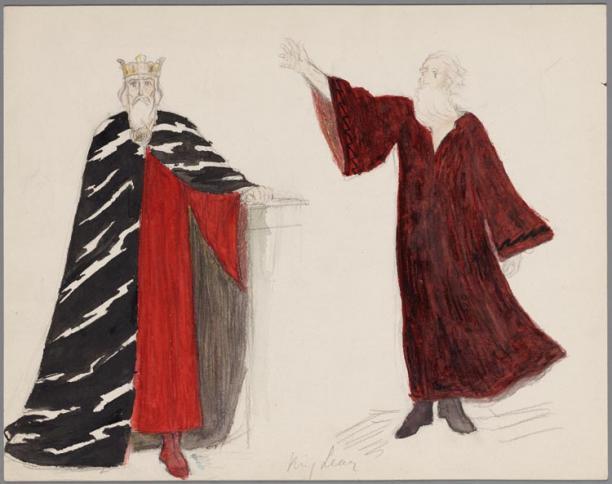 F.W.S. van Thienen, kostuumontwerp voor King Lear, tekening, 1923, collectie Theatercollectie Bijzondere Collecties UvA.