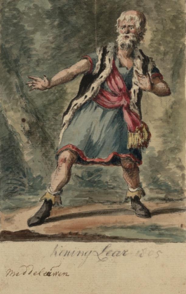 Zelfportret van Johannes Jelgerhuis als King Lear, tekening, rond 1800, collectie Theatercollectie Bijzondere Collecties UvA.