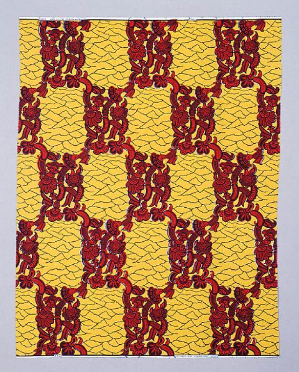 Vlisco, Staal-Yard, nr. 3499, in geel rood en zwart, 1980, Textielmuseum
