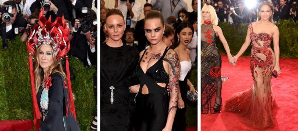 Een selectie van foto's van het Met Gala in 2015, met de veelbesproken hoofdtooi van Sarah Jessica Parker, de 'bloesemtatoeages' van Cara Delevigne en de drakenjurk van Jennifer Lopez. Bron: The Guardian.