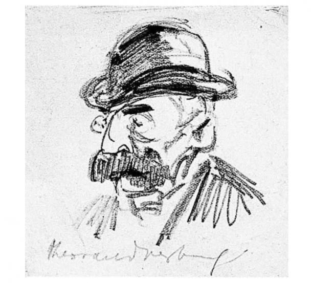 Theo van Doesburg, portret van een man met snor en hoed, ca. 1910, collectie Centraal Museum Utrecht (Bruikleen Instituut Collectie Nederland).