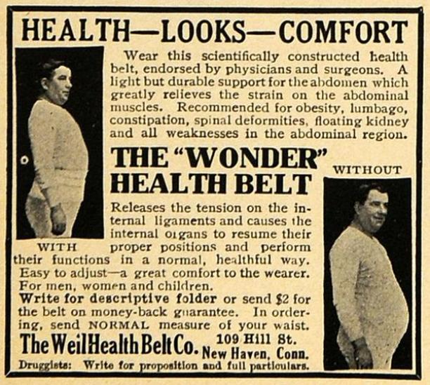 "Advertentie voor 'The ""Wonder"" Health Belt' van The Weil Health Belt Co., Connecticut, Verenigde Staten."