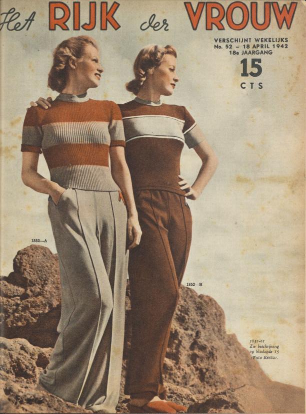 Het Rijk der Vrouw, 18 april, 1942. Door het gebrek aan kousen worden lange broeken voor vrouwen min of meer geaccepteerd. Collectie: NIOD Instituut voor Oorlogs-, Holocaust- en Genocidestudies