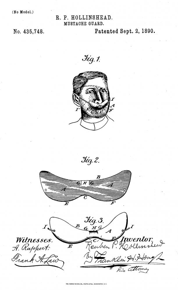 B.P. Hollinshead, patent US435748 A, Moustache-guard, 2 september 1890. Bron: Google Patents.
