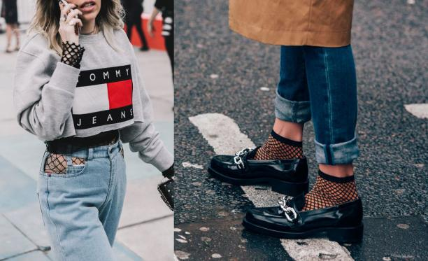 Afb. 1 Links: Visnetpanty gedragen onder bewerkte spijkerbroek (bron: Collage Vintage via Whowhatwear.co.uk). Rechts: Vistnetkousjes in loafers (via Pinterest).